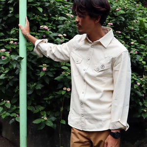 【RE STITCH】<br>ウエスタンシャツ<br>The RE STITCH Western Shirt in Natural Corded Cotton