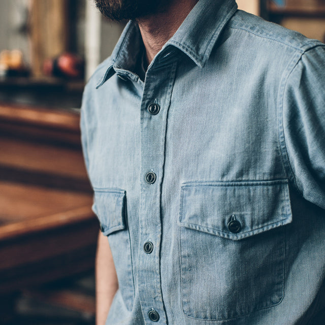 マリタイムシャツジャケット<br>The Maritime Shirt Jacket in Sun Bleached Indigo