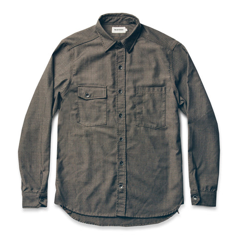 ユーティリティーシャツ<br>The Utility Shirt in Moss Merino 4S Herringbone - alternate view