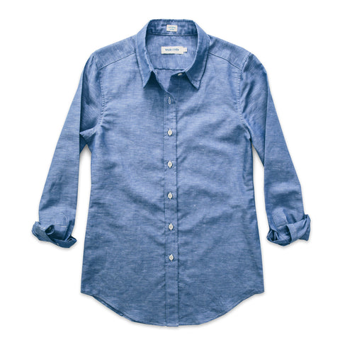 キャサリン<br>The Katherine in Azure Cotton & Linen - alternate view