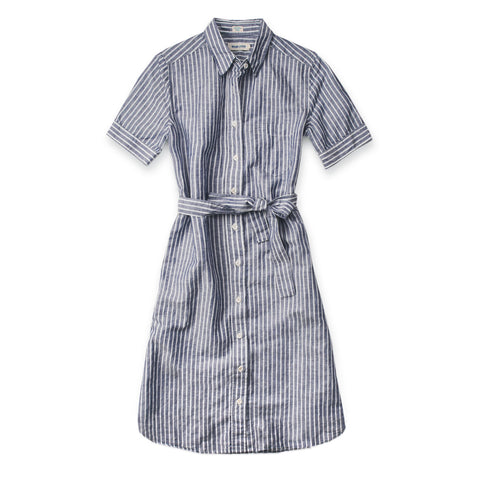 リリードレス<br>The Riley Dress in Indigo Stripe - alternate view