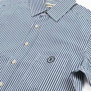 【RE STITCH】<br>ショートスリーブカリフォルニア<br>The RE STITCH Short Sleeve California in Indigo Stripe Poplin