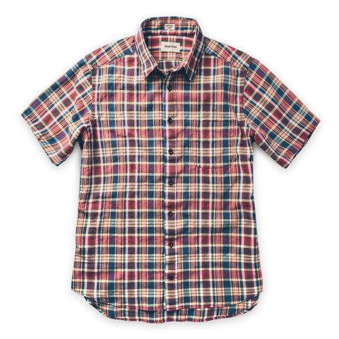 ショートスリーブカリフォルニア<br>The Short Sleeve California in Red Madras - alternate view