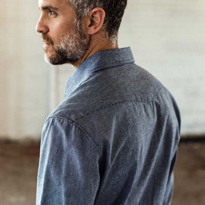 ウエスタンシャツ<br>The Western Shirt in Indigo Stripe
