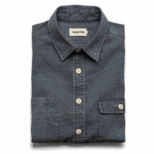 モトユーティリティーシャツ<br>The Moto Utility Shirt in Indigo Pin Dot