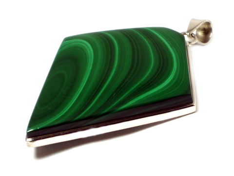 Large Malachite  Sterling Silver 925 Pendant