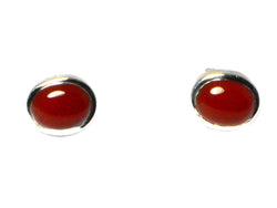 CARNELIAN Sterling Silver 925 Oval STUD / Earrings