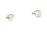MOONSTONE Round Shaped Sterling Silver Earrings / Studs 925 - 8 mm