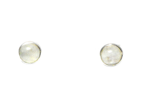 MOONSTONE Round Shaped Sterling Silver Gemstone Ear Studs 925 - 8 mm