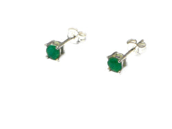 EMERALD Sterling Silver 925 Gemstone STUDS / Earrings
