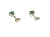 EMERALD Sterling Silver 925 Gemstone STUDS / Earrings - 4 mm - (EMST1008151)