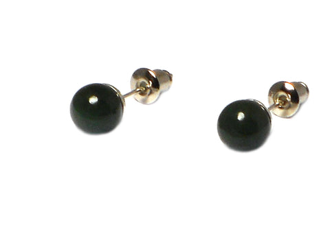 JADE Sterling Silver Round Gemstone Ear Studs 925