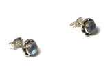 Round MOONSTONE Sterling Silver Gemstone Stud Earrings 925 - 5 mm