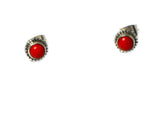 CORAL Sterling Silver Round Shaped Ear Studs 925 - (CST1408152)