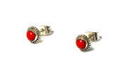 CORAL Sterling Silver Round Shaped Ear Studs 925