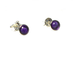 AMETHYST Round Sterling Silver Earrings / Studs 925 - 6 mm