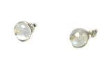 MOONSTONE Round Shaped Sterling Silver Ear Studs 925