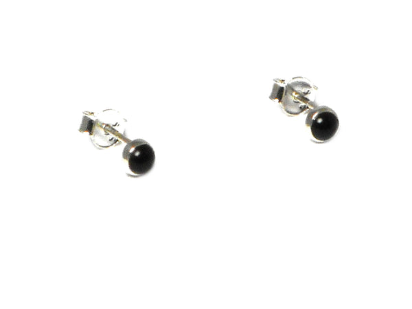 BLACK ONYX Sterling Silver Gemstone STUD Earrings 925 - 4 mm