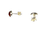 Cognac AMBER Sterling Silver Gemstone Oval Stud Earrings 925 - 6 x 8 mm - (ABST2109152)