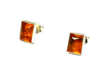 Cognac AMBER Sterling Silver Gemstone Ear Studs 925 - 6 x 8 mm