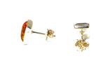 Cognac AMBER Sterling Silver Gemstone Stud Earrings 925 - 6 x 8 mm - (ABST2109155)