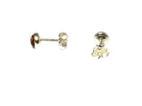 Cognac AMBER Sterling Silver Gemstone round Stud Earrings 925 -  5 mm (ABST2109156)