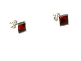 Cognac AMBER Sterling Silver Gemstone Square Stud Earrings 925 - 6 x 6 mm