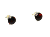 Cognac AMBER Sterling Silver Gemstone round Stud Earrings 925 - 8 mm