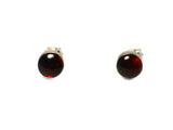 Cognac AMBER Sterling Silver Gemstone Ear Studs 925 - 8 mm