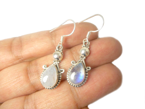 MOONSTONE Pear Shaped Sterling Silver Gemstone Earrings 925