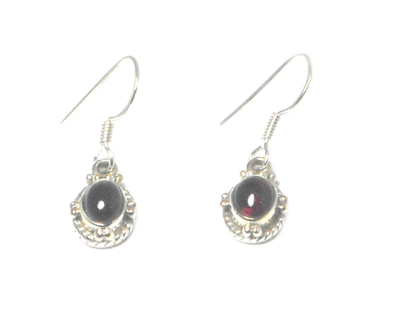 Oval GARNET Sterling Silver Gemstone Earrings