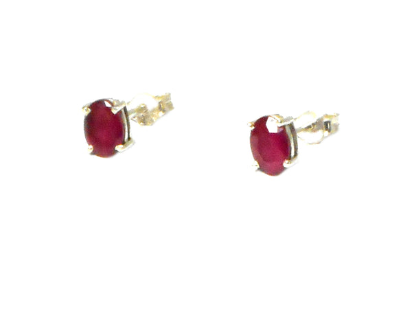 Oval  RUBY Sterling Silver 925 Gemstone STUD / Earrings