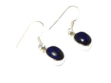 Blue Oval LAPIS LAZULI Sterling Silver Gemstone Earrings 925