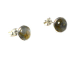 LABRADORITE Round Shaped Sterling Silver Gemstone Stud Earrings - 8 mm