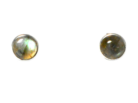 LABRADORITE Round Shaped Sterling Silver Gemstone Earrings / STUDS - 8 mm