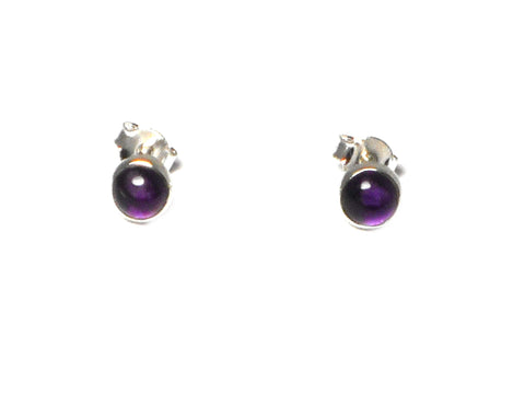 AMETHYST Round Sterling Silver Gemstone Ear Studs 925 - 5 mm
