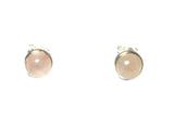 Rose QUARTZ Round Shaped Sterling Silver Ear Studs 925 - 8 mm - (RQST3009151)