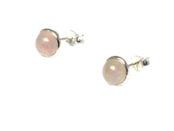 Rose QUARTZ Round Shaped Sterling Silver Ear Studs 925 - 8 mm