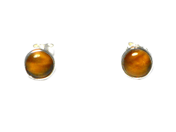 TIGER'S EYE Round Sterling Silver 925 STUD / Earrings
