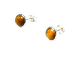 TIGER'S EYE Round Sterling Silver 925 STUD / Earrings - 8 mm - (TEE3009151)