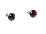 GARNET Round Sterling Silver Earrings / Studs