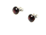 GARNET Round Sterling Silver Earrings / Studs - 8 mm - (GST3009151)
