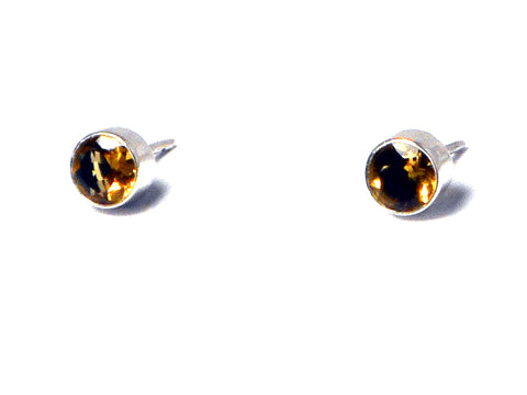 CITRINE Sterling Silver Gemstone STUD Earrings 925