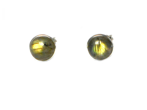 LABRADORITE Round Shaped Sterling Silver Earrings / STUDS - 8 mm