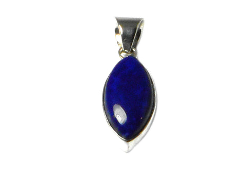 Afghanistani LAPIS LAZULI Sterling Silver 925 Marquise Pendant
