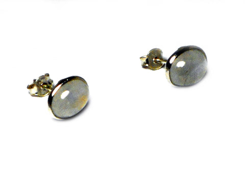 Oval MOONSTONE Sterling Silver 925 Gemstone Earrings / Studs