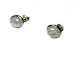 Oval MOONSTONE Sterling Silver 925 Gemstone Earrings / Studs - 8 x 10 mm