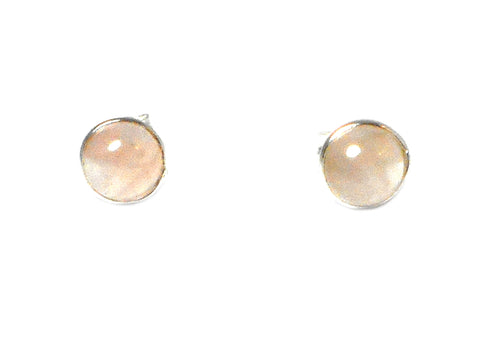 Rose QUARTZ Round Shaped Sterling Silver Earrings / STUDS 925