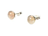Rose QUARTZ Round Shaped Sterling Silver Earrings / STUDS 925 - 8 mm - (RQST1501161)
