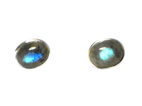 LABRADORITE Oval Shaped Sterling Silver Ear Studs 925